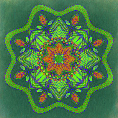 Animal Portraits - Orange and Green Floral Mandala by Leslie Montgomery