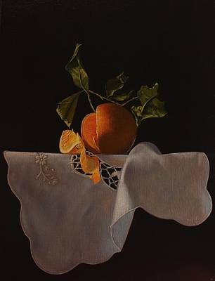 Painting - Orange and white cloth by Peter Thomas Foster
