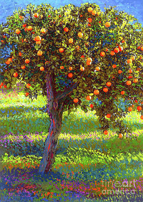 Landscapes Paintings - Orange Fruit Tree by Jane Small