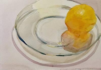 Painting - Orange on clear plate  by Jo Mackenzie