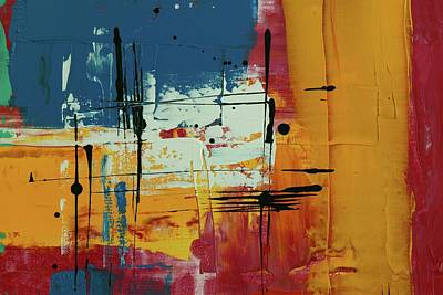 Royalty-Free and Rights-Managed Images - Orange Red And Blue Abstract Painting by Julien