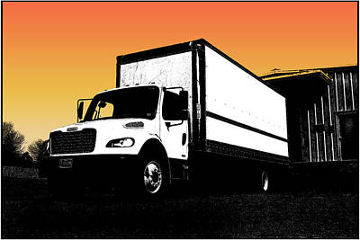 Surrealism Royalty-Free and Rights-Managed Images - Orange Sky With Truck by Constance Lowery