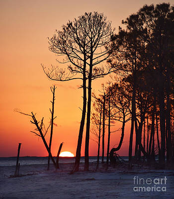 Ballerina Art - Orange Sunset on Dauphin Island, Alabama by Catherine Sherman
