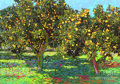 Landscapes Paintings - Orchard of Lemon Trees by Jane Small