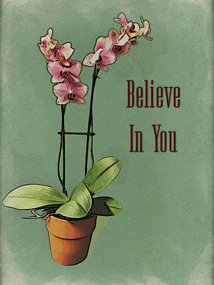Modern Man Surf Royalty Free Images - Orchid - Believe In You Royalty-Free Image by Leslie Montgomery