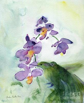 Painting - Orchids and Hummingbirds by Andrea Rubinstein