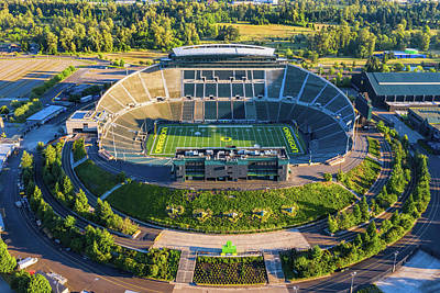 Sports Royalty-Free and Rights-Managed Images - Oregon Ducks Autzen Stadium by Mike Centioli