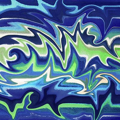 Mellow Yellow - Organic Abstract Swirls And Curves Decorative Indigo Blue Green Art I by Irina Sztukowski