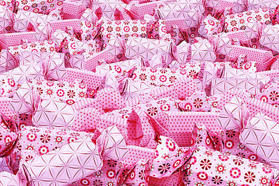 Royalty-Free and Rights-Managed Images - Origami pink sweet holiday pile of candy background by Julien