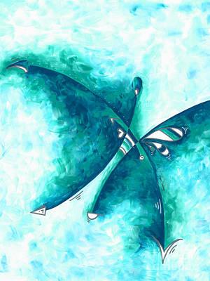 Painting - Original Abstract Art Contemporary Modern Art Prints Painting Megan Duncanson Aqua Dreams by Megan Duncanson