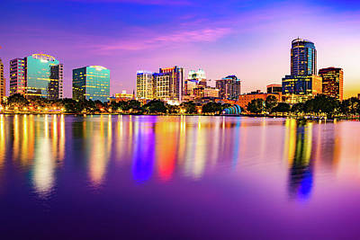 Royalty-Free and Rights-Managed Images - Orlando City Reflections and Vibrant Lake Eola Park Sunset by Gregory Ballos