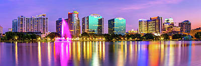 Royalty-Free and Rights-Managed Images - Orlando Skyline Sunset Reflections - Florida Lake Eola Panorama by Gregory Ballos