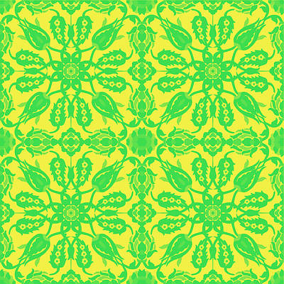 Royalty-Free and Rights-Managed Images - Ottoman Iznik islamic style geometric tile No 2f by Celestial Images