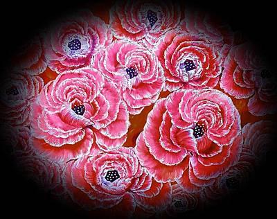 Thomas Kinkade - Oval of roses red beauty  by Angela Whitehouse