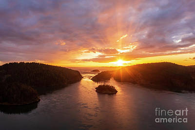 Ethereal - Over Deception Pass Sunset Sunrays by Mike Reid
