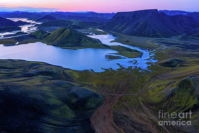 Not Your Everyday Rainbow - Over Iceland Highlands Iridescent Blue Lake by Mike Reid