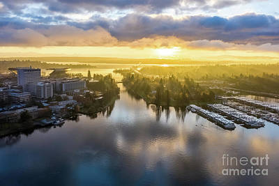 Pop Art Rights Managed Images - Over Montlake Portage Bay Sunrise Sunrays Royalty-Free Image by Mike Reid
