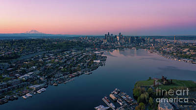 Wild Weather - Over Seattle Cityscape and Lake Union Sunrise by Mike Reid