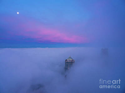 Royalty-Free and Rights-Managed Images - Over Seattle Dawn Moonset by Mike Reid