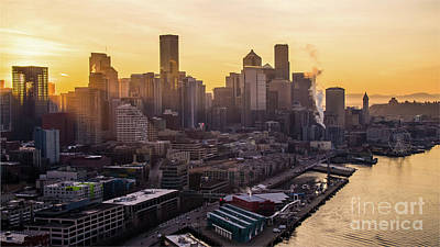 Kitchen Mark Rogan - Over Seattle Dawn Sunrays Downtown by Mike Reid