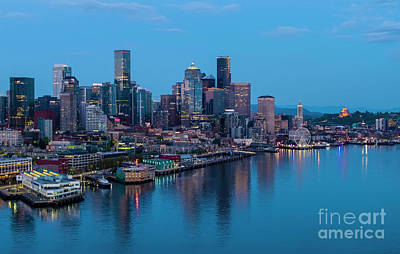 1-war Is Hell Royalty Free Images - Over Seattle Downtown Skyline Blues Royalty-Free Image by Mike Reid