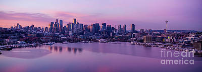 Royalty-Free and Rights-Managed Images - Over Seattle Lake Union and Cityscape Sunrise Panorama Reflection by Mike Reid