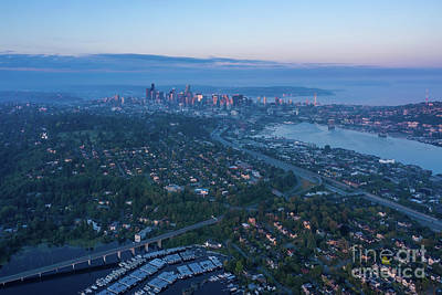 City Scenes - Over Seattle Sunrise Light on the City by Mike Reid