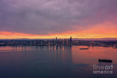 Royalty-Free and Rights-Managed Images - Over Seattle Sunrise Over Elliott Bay by Mike Reid