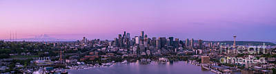 City Scenes - Over Seattle The Ever Changing Skyline by Mike Reid