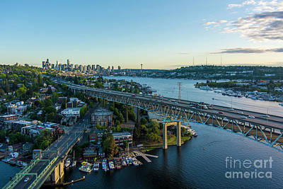 Pop Art Rights Managed Images - Over Seattle Two Bridges Dusk Royalty-Free Image by Mike Reid