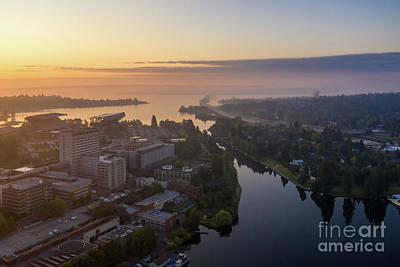 City Scenes - Over Seattle University of Washington and Montlake in the Mist by Mike Reid