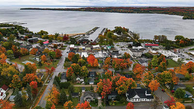 Olympic Sports - Overhead view of Charlevoix Michigan with fall colors by Eldon McGraw