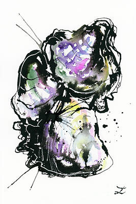 Abstract Male Faces - Oyster Shells by Zaira Dzhaubaeva