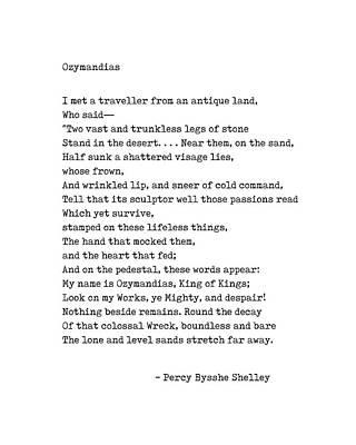 Digital Art - Ozymandias - Percy B Shelley Poem - Minimal, Classic, Typewriter Print - Literature by Studio Grafiikka