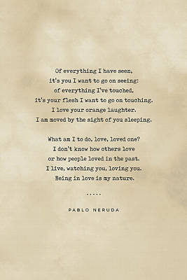 Royalty-Free and Rights-Managed Images - Pablo Neruda Quote on Love 04 - Typewriter quote on Old Paper - Literary Poster - Book Lover Gifts by Studio Grafiikka