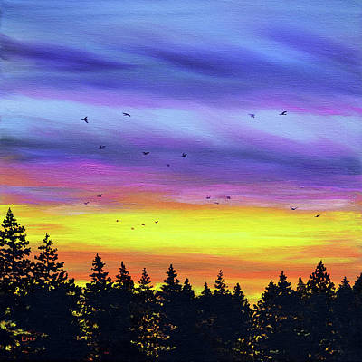 Royalty-Free and Rights-Managed Images - Pacific Northwest Sunset over Pine Trees by Laura Iverson