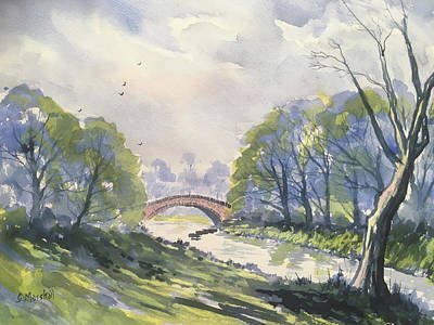 Painting - Packhorse Bridge at Stainforth after Rain       by Glenn Marshall