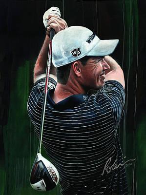 Sports Paintings - Padraig Harrington 2020 by Mark Robinson