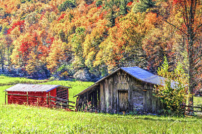 Pittsburgh According To Ron Magnes - Painted Barns in Fall by Carol Montoya