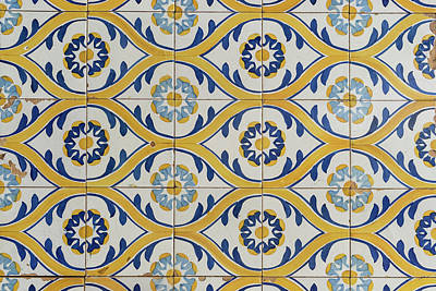 Door Locks And Handles Rights Managed Images - Painted Patterns - Azulejo Tiles in Blue and Yellow - Horizontal Variant Royalty-Free Image by Georgia Mizuleva