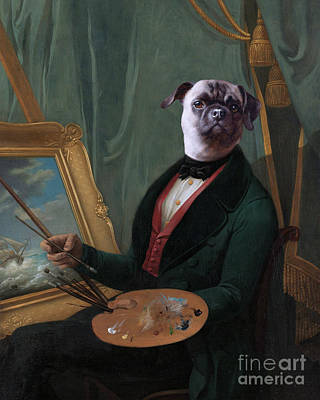 Surrealism Royalty-Free and Rights-Managed Images - Painter with DOG HEAD Vintage Portrait. Collage Surreal Art. by Damien Evans