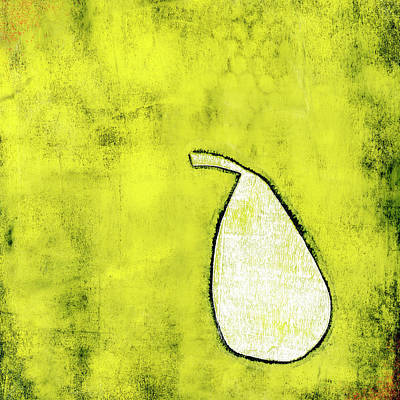 Mixed Media - Pale Pear on Green Monoprint by Carol Leigh