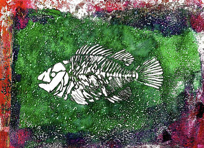 Animals Paintings - Paleo Fish #2 by Bellesouth Studio