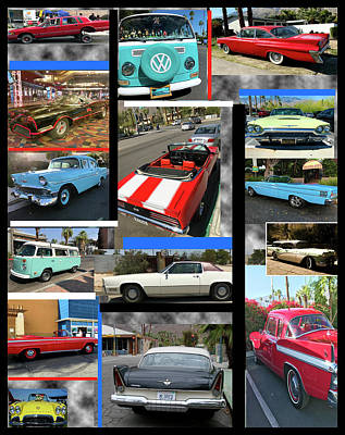 Valentines Day - Palm Springs Car Collage by Matthew Bamberg