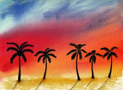 David Bowie Royalty Free Images - Palm Trees in Flaming Sunset Royalty-Free Image by Conni Schaftenaar