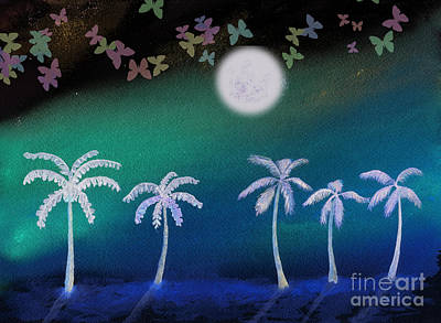 David Bowie Royalty Free Images - Palm Trees Under a Butterfly Moon Royalty-Free Image by Conni Schaftenaar