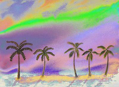 Pasta Al Dente - Palm Trees Under An Aurora Borealis Sky by Conni Schaftenaar
