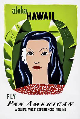 Drawings Royalty Free Images - Pan Am Aloha Hawaii Travel Poster 1953 Royalty-Free Image by E MacKnight Kauffer