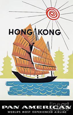 Drawings Royalty Free Images - Pan Am Hong Kong Travel Poster 1962 Royalty-Free Image by A Amspoker
