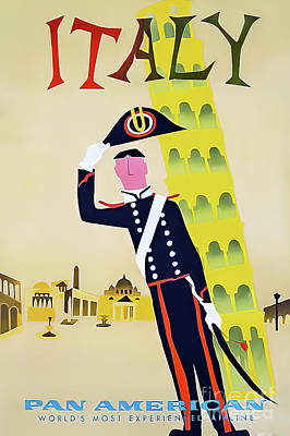 Drawings Royalty Free Images - Pan Am Italy Travel Poster 1960 Royalty-Free Image by Aaron Fine